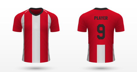 Realistic soccer shirt Athletic Bilbao, jersey template for football kit. Vector illustration