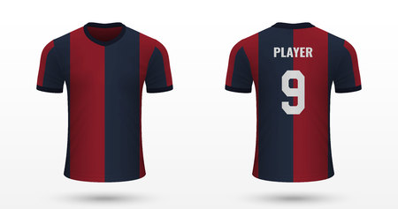 Realistic soccer shirt Bologna, jersey template for football kit. Vector illustration