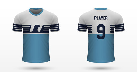 Realistic soccer shirt Lazio, jersey template for football kit. Vector illustration Çizim
