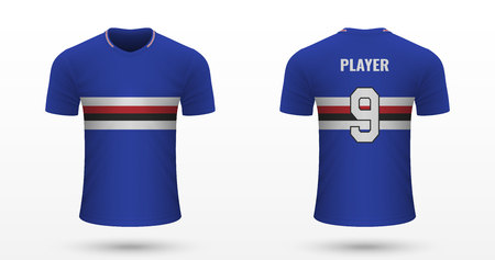 Realistic soccer shirt Sampdoria, jersey template for football kit. Vector illustration Illustration