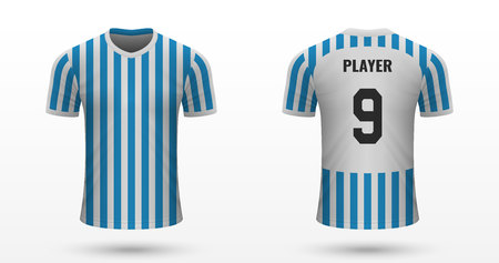 Realistic soccer shirt SPAL, jersey template for football kit. Vector illustration