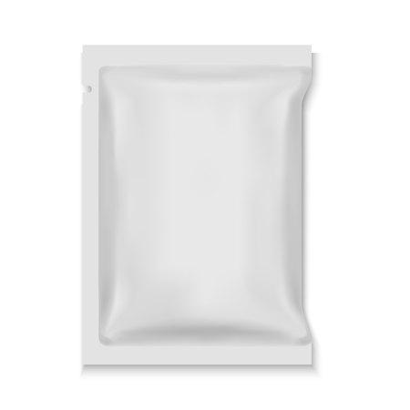 Emballage de sac de sachet de casse-croûte de nourriture d'aluminium blanc blanc Vecteurs