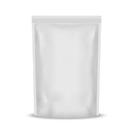 Imballaggio del sacchetto della bustina dello spuntino dell'alimento della stagnola in bianco bianco Vettoriali