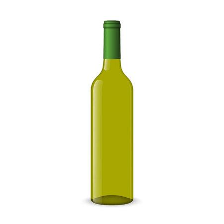 Realistic white wine bottles on white background Çizim