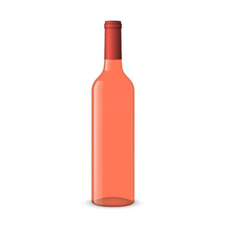Bouteilles de vin rose réalistes sur fond blanc Vecteurs