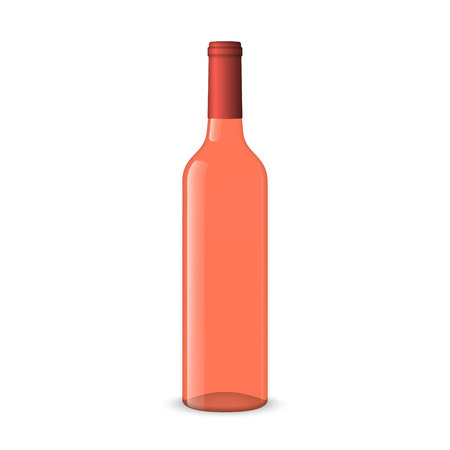 Realistic rose wine bottles on white background Ilustração