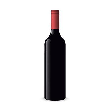 Realistic red wine bottles on white background