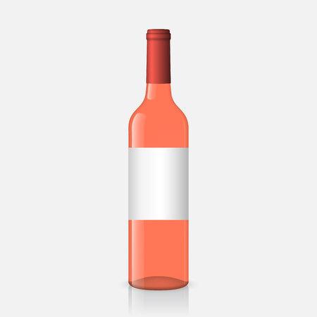 Realistic rose wine bottles on white background Иллюстрация