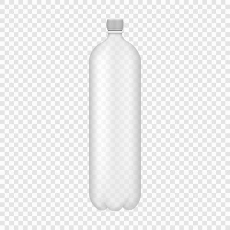 Empty realistic transparent PET plastic bottle