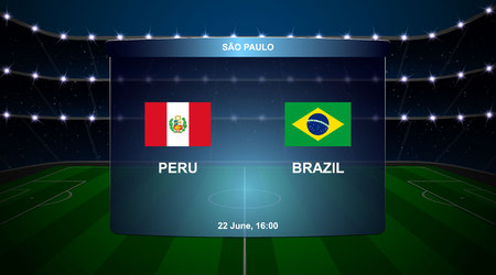 Peru vs Brazil football scoreboard broadcast graphic soccer template