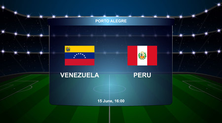 Venezuela vs Peru football scoreboard broadcast graphic soccer template