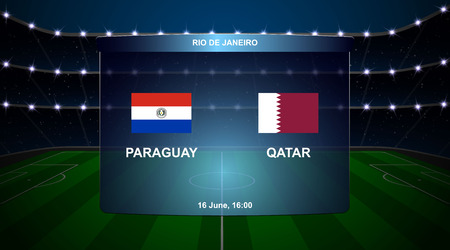Paraguay vs Qatar football scoreboard broadcast graphic soccer template