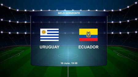 Uruguay vs Ecuador football scoreboard broadcast graphic soccer template