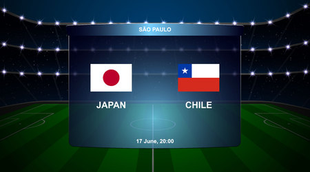 Japan vs Chile football scoreboard broadcast graphic soccer template Ilustração