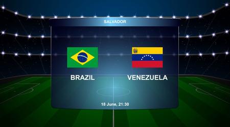 Brazil vs Venezuela football scoreboard broadcast graphic soccer template Illustration