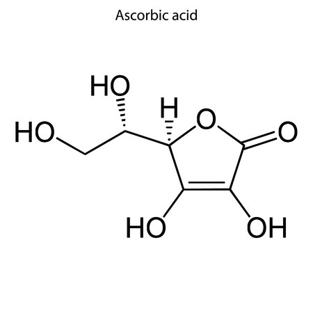 Skeletal formula of ascorbic acid. Vitamin C  chemical molecule.