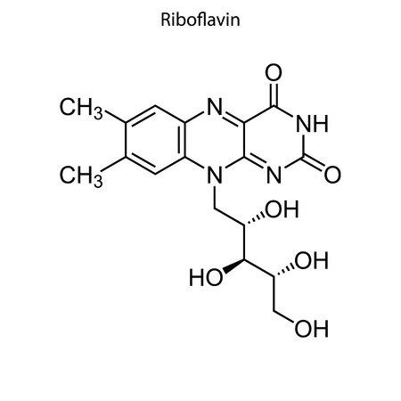 Skeletal formula of Riboflavin. Vitamin B2 chemical molecule.