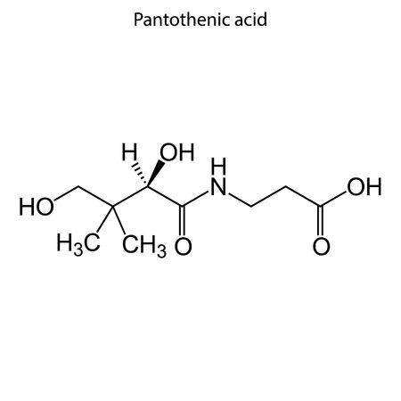 Skeletal formula of     Pantothenic acid. Vitamin B 5 chemical molecule.