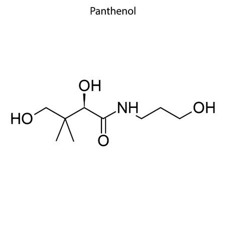 Skeletal formula of Panthenol. Vitamin B 5 chemical molecule. Illustration