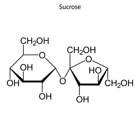 Skeletal formula of Sucrose. chemical molecule