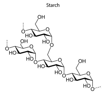 Skeletal formula of starch. chemical molecule Illustration