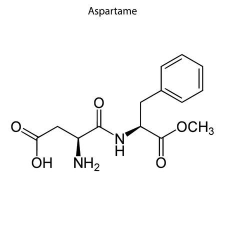 Skeletal formula of Aspartame. chemical molecule Vector Illustration