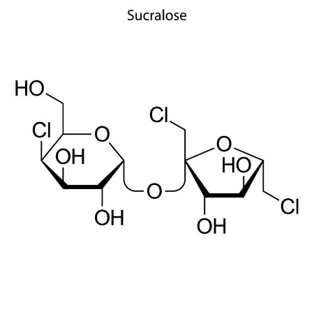 Skeletal formula of Sucralose. chemical molecule