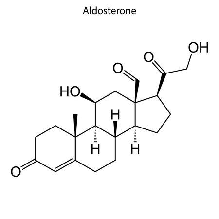 Skeletal formula of Aldosterone. Steroid molecule