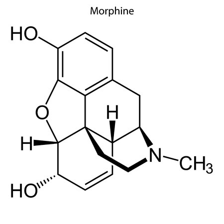 Skeletal formula of Morphine. chemical molecule
