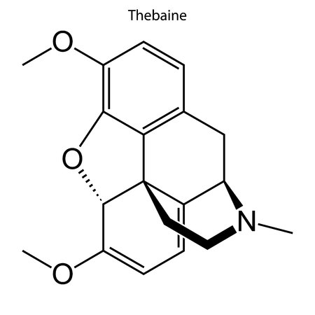 Skeletal formula of Thebaine. chemical molecule