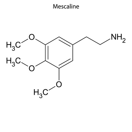 Skeletal formula of Mescaline. chemical molecule Illustration
