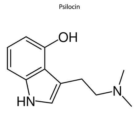 Skeletal formula of Psillocin. chemical molecule