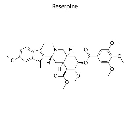 Skeletal formula of Reserpine. chemical molecule