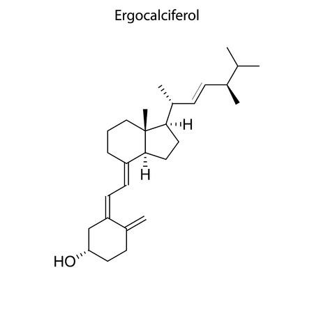 Skeletal formula of Ergocalciferol. Vitamin K 2  chemical molecule. Çizim