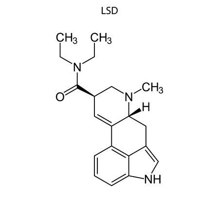 Skeletal formula of Lysergic acid diethylamide. chemical molecule.