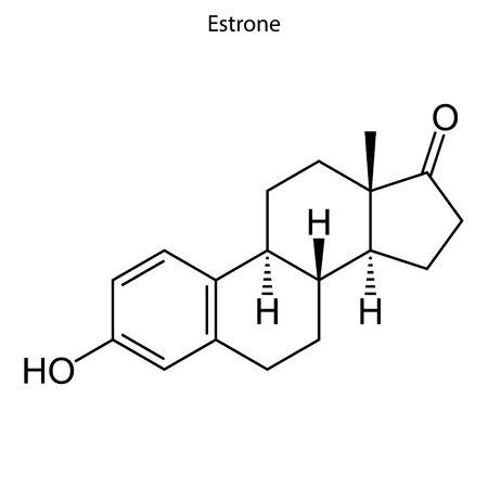 Skeletal formula of Estrone. hormone molecule