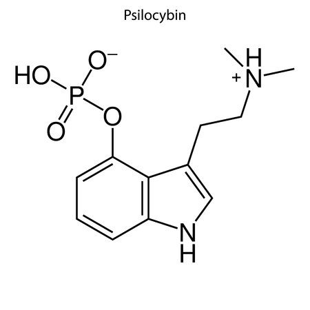 Skeletal formula of Psillocybin. chemical molecule