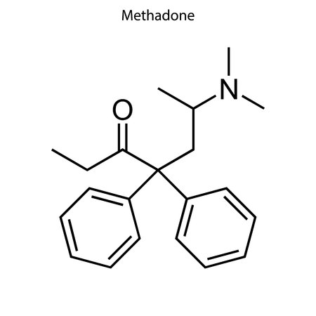 Skeletal formula of Methadone. chemical molecule Illustration