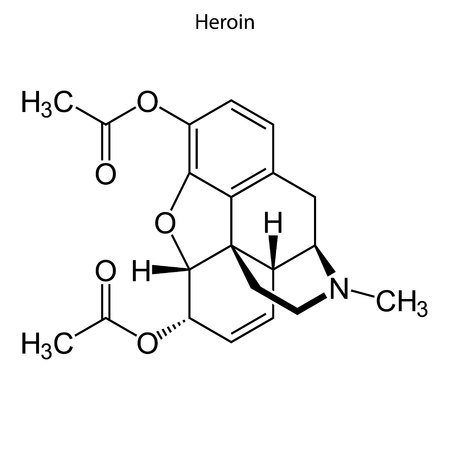 Skeletal formula of Heoin. chemical molecule Illustration