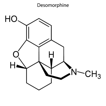 Skeletal formula of Desomorphine. chemical molecule Illustration