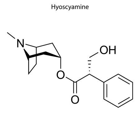 Skeletal formula of Hyoscyamine. chemical molecule