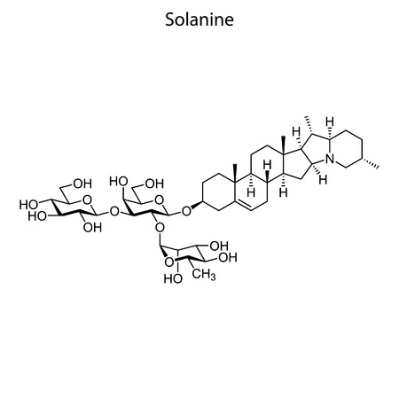 Skeletal formula of Solanine. chemical molecule Çizim