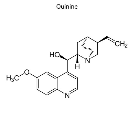 Skeletal formula of Quinine. chemical molecule