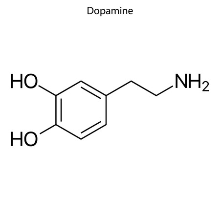 Skeletal formula of Dopamine. chemical molecule
