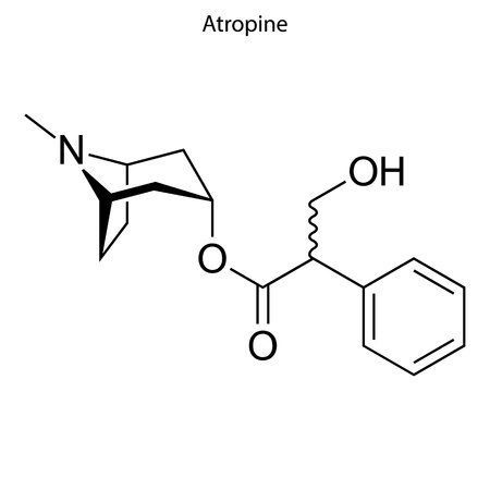 Skeletal formula of Atropine. chemical molecule