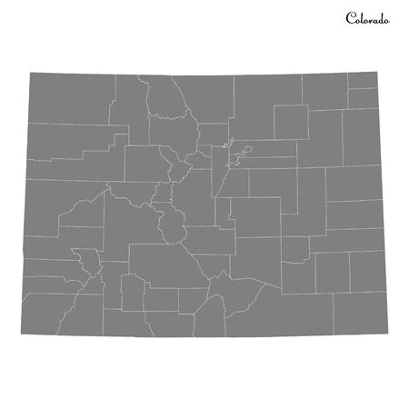 High Quality map of Colorado is a state of United States with borders of the counties