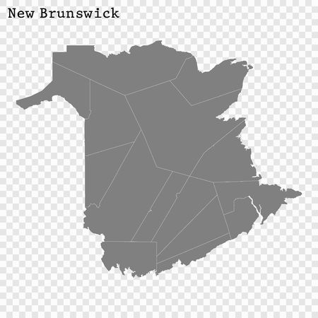 High Quality map of New Brunswick is a province of Canada, with borders of the counties 写真素材 - 123401881