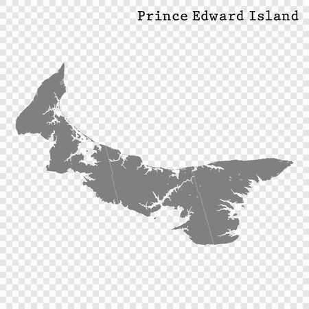 High Quality map of Prince Edward Island is a province of Canada, with borders of the counties