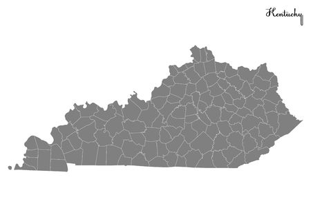 High Quality Map Of Kentucky Is A State Of United States ...