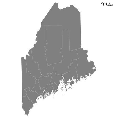 High Quality map of Maine is a state of United States with borders of the counties